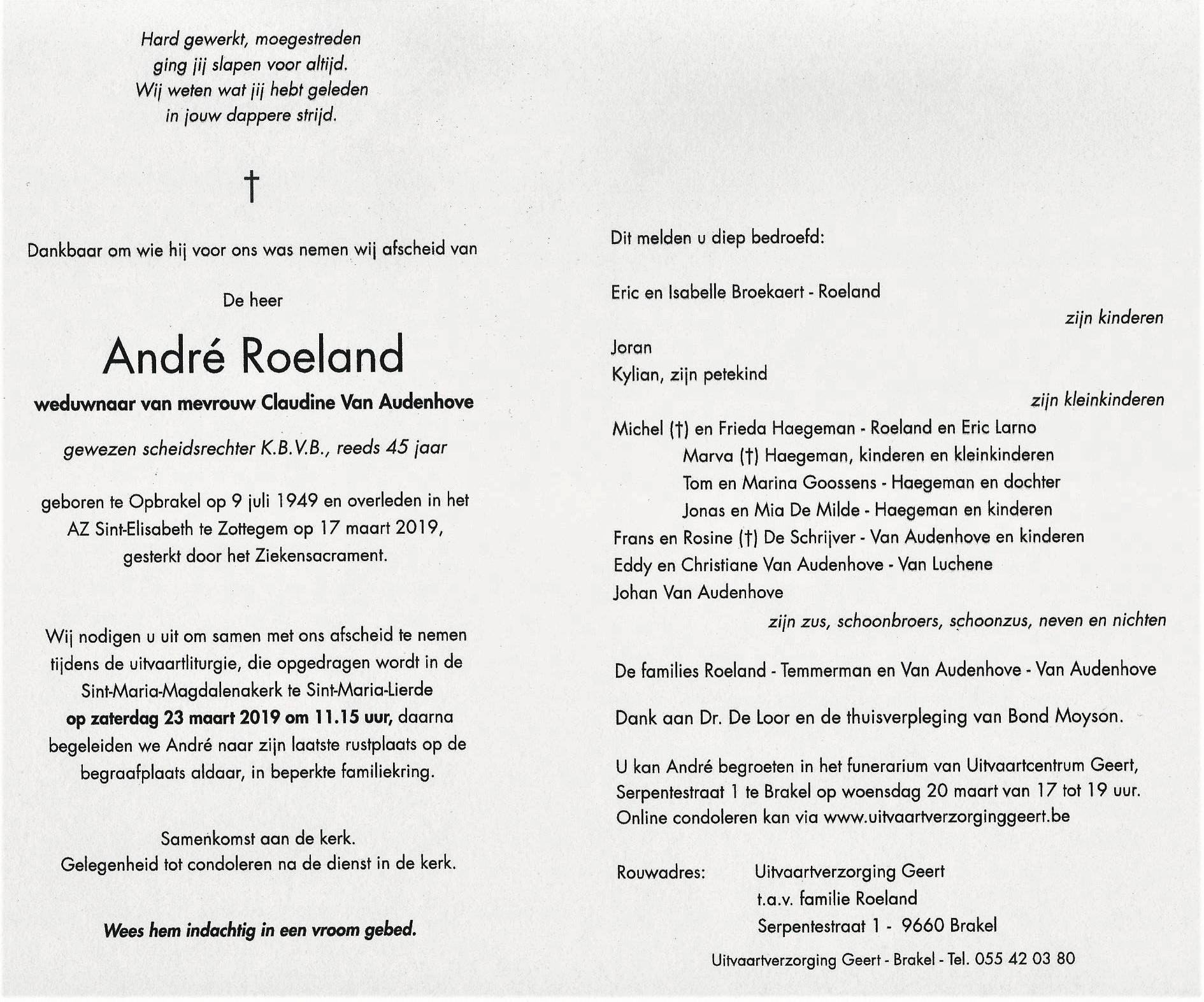 doodsbrief André Roeland